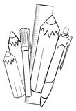Pencils and school supplies Royalty Free Stock Image