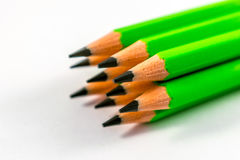 Pencils. School supplies colored pencils in a row , isolated on a white background Royalty Free Stock Image