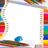Pencils and school supplies Royalty Free Stock Photos
