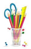 Pencils, scissors and pins in holder. Royalty Free Stock Images