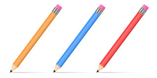 Pencils. Set of 3d realistic sharpened pencils isolated on white background. Vector illustration stock illustration