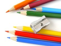 Pencils and sharpener Royalty Free Stock Photos