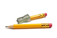 Pencils and Sharpener Stock Photography