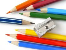Pencils and sharpener Royalty Free Stock Images