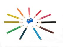 Pencils and sharpener royalty free stock photo