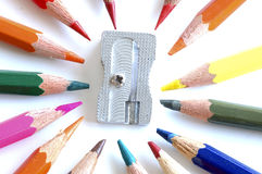 Pencils and sharpener Stock Photos