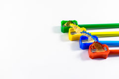 Pencils and sharpener Royalty Free Stock Image