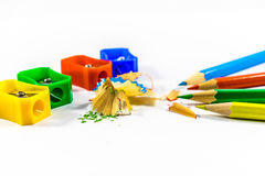 Pencils and sharpener. Isolated on a white background Royalty Free Stock Photography