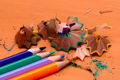 Pencils with a sharpener and shaving Stock Images
