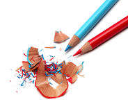 Pencils and sharpener shaving Royalty Free Stock Images