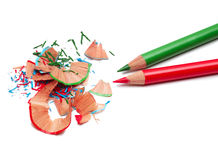 Pencils and sharpener shaving Royalty Free Stock Image