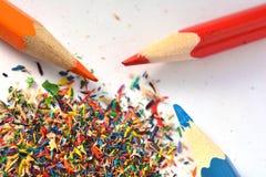Pencils sharpening, shavings Royalty Free Stock Photos
