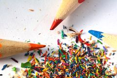 Pencils sharpening, shavings Stock Images