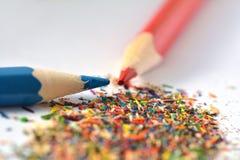 Pencils sharpening, shavings Royalty Free Stock Photo