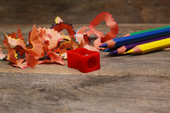 Pencils with sharpening shavings Stock Photography