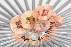 Pencils, shaving and sharpener Stock Image