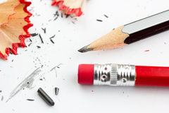 Pencils and shavings Royalty Free Stock Photography