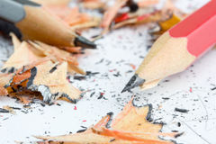 Pencils and shavings Royalty Free Stock Image