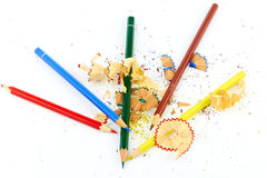 Pencils and shavings Stock Photo