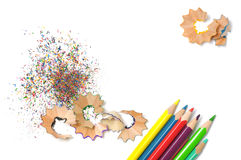 Pencils Shavings Background Royalty Free Stock Images