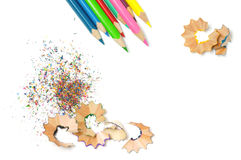 Pencils Shavings Background Stock Photography