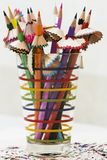 Pencils with shavings in colorful glass. Pencils with shavings in colorful glass Royalty Free Stock Photo