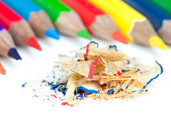 Pencils Shavings Stock Photography