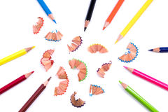 Pencils and shavings Royalty Free Stock Images