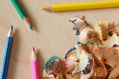 Pencils shavings. On table Stock Images