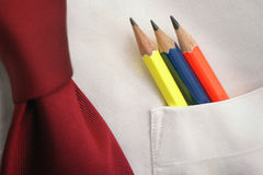 Pencils-in-a-shirt-pocket. Pencils in a shirt pocket royalty free stock images
