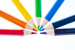 Pencils showing the colours of the rainbow. Colored pencils forming a rainbow isolated on white Stock Photography