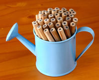 Pencils in small watering can. Wooden graphite pencils in small blue watering can Royalty Free Stock Images
