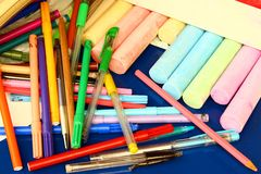 Pencils. Some colorful pencils and chalk for school Stock Photos