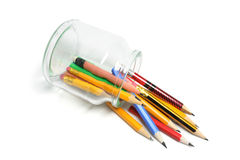 Pencils Spilling out of Fallen Glass Jar Stock Photos