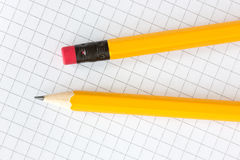 Pencils on the squared paper Stock Image