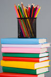 Pencils on the stack of books Royalty Free Stock Image
