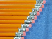 Pencils staggered on a diagonal Stock Photography
