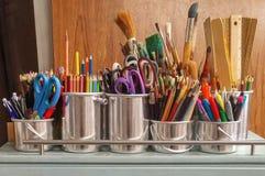 Pencils in Stainless Steel Bucket Stock Photos