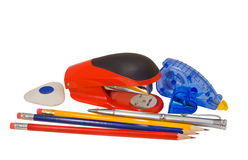 Pencils and stapler 1 Royalty Free Stock Photography