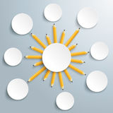 Pencils Sun Circles Infographic Stock Images