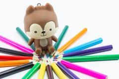 pencils tät färg för bakgrund upp white Arkivfoto