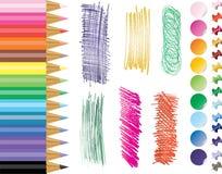 Pencils, tacks, stikers Stock Images