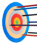 Pencils and target. Color pencils fly to the target Royalty Free Stock Images