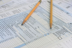 Pencils on tax forms Royalty Free Stock Images