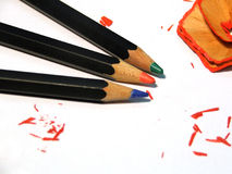 Pencils - three colours. Coloured pencils royalty free stock images