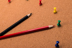 Pencils and thumbtacks Royalty Free Stock Image
