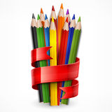 Pencils tied with ribbon on white Stock Photos
