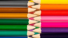 Pencils with tips in zigzag composition Stock Photography