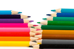 Pencils with tips in zigzag composition Royalty Free Stock Image