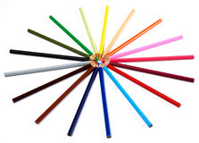 Pencils togheter. Multi-colored pencils on white background Royalty Free Stock Photos